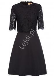 Czarna krótka sukienka z koronkową górą - Lejdi
