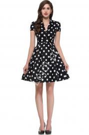 Czarna rozkloszowana sukienka w duże białe kropki | sukienka pin up na wesele 6089-5 - Lejdi