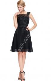Czarna sukienka wieczorowa z koralami i gipiurą| czarne sukienki wieczorowe, studniówkowe - Lejdi