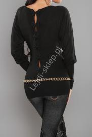 Czarny sweter nietoperz z kokardkami na plecach| czarne swetry damskie - Lejdi