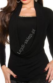 Czarny sweter z cyrkoniową taśma i dekoltem typu woda, 30% wełna + 26% sztuczny jedwab , 8242