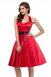 Czerwona sukienka pin-up na szyję| sukienki lata 60-te,70-te - Lejdi