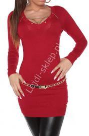 Czerwona sukienka / tunika swetrowa z łańcuszkowym dekoltem 8039 - Lejdi