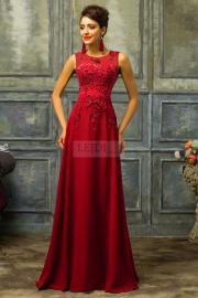 Czerwona sukienka z perłami - ciemne wino - Lejdi