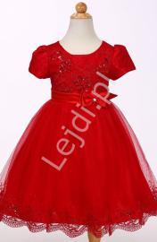 Czerwona tiulowa sukienka w krótki rękawek | sukienki dla dziewczynki - Lejdi
