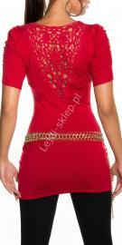 Czerwona tunika damska / tunika z ozdobną koronką na plecach | czerwone młodzieżowe swetry damskie 1027