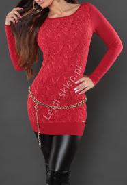 Czerwona tunika z gipiurową wyrazistą koronką z przodu | gipiurowe tuniki, 8069 - Lejdi