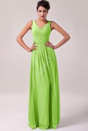 Długa limonkowa suknia na wesele | suknie wieczorowe | sukienki dla druhen , świadkowych - Lejdi