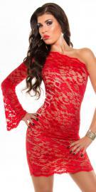 Dwukolorowa zmysłowa sukienka na jedno ramię z koronki, 361-6 | sukienki wizytowe na jedno ramię - Lejdi