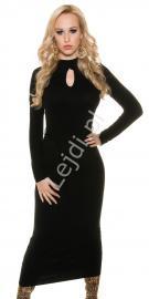 Dzianinowa elegancka sukienka 3/4 | dzianinowa czarna sukienka 1546 - Lejdi
