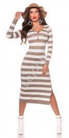 Dzianinowa sukienka w beżowo białe paski długość 3/4, sukienka zdobiona kryształkami 8719-5 - Lejdi