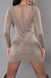 Dzianinowa sukienka w kolorze mokka z tiulem na plecach S901 - Lejdi