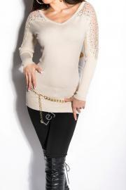Dzianinowy sweter z cyrkoniami| swetry damskie - Lejdi