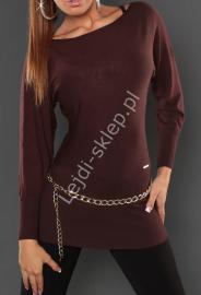 Elegancka brązowa tunika o kroju nietoperza | bluzka dzianinowa gorzka czekolada, 8055 - Lejdi