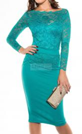 Elegancka koronkowa sukienka midi szmaragdowa 334 -2, r.34 - r.50 - Lejdi