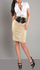 Elegancka ołówkowa beżowa spódnica z paskiem - Lejdi