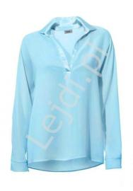 Elegancka szyfonowa koszula w kolorze błękitnym z satynowym kołnierzykiem - Lejdi