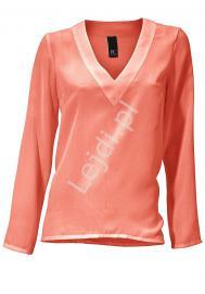 Elegancka żorżetowa koralowa bluzka - Lejdi