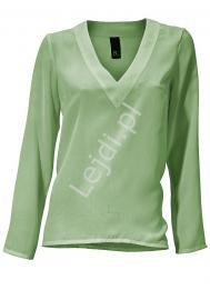 Elegancka żorżetowa pastelowo oliwkowa bluzka - Lejdi