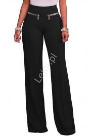 Eleganckie czarne elastyczne spodnie z zameczkami - Lejdi