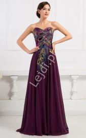 Fioletowa szyfonowa suknia z pawimi piórkami | fioletowe suknie wieczorowe na studniówkę, sylwestra, karnawał - Lejdi