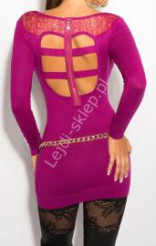 Fuksjowa sukienka z koronką na plecach i paskami, 8031 - Lejdi
