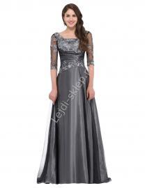 Grafitowo szara suknia dla dojrzałej kobiety | wyrafinowana suknia z haftami dla mamy Panny Młodej - Lejdi