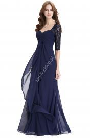 Granatowa długa suknia | suknia dla mamy Panny Młodej, suknia z rękawkami - Lejdi