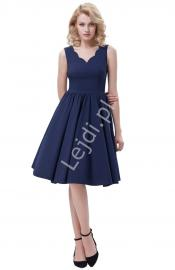 Granatowa rozkloszowana sukienka | sukienka pin up na wesele - Lejdi