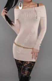 Jasno beżowy sweter z wywijanym kołnierzem - CARMEN z zamkiem, 30% wełna+ sztuczny jedwab 3312 - Lejdi