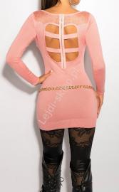 Jasno różowa sukienka z koronką na plecach i imitacją kołnierzyka, 8031 - Lejdi
