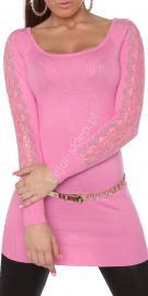 Jasno różowa tunika z dzianiny z kryształkami | tunika z koronka na ramionach, 8077 - Lejdi