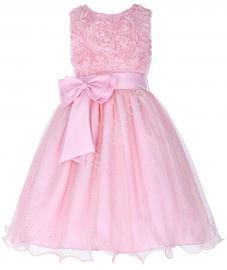 Jasnoróżowa sukienka dla dziewczynki z brokatem - Lejdi