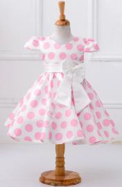 Jasnoróżowa sukienka w kropki dla dziewczynki, wizytowe sukienki dla dziewczynek - Lejdi