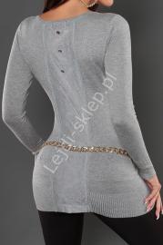 Szara dzianinowa tunika z dżetami, 8052 - Lejdi