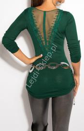 Szmaragdowy sweter z haftem na plecach / sweter z rękawem 3/4, 8011 - Lejdi