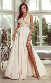 Długa suknia wieczorowa - beżowa Juliette - Lejdi