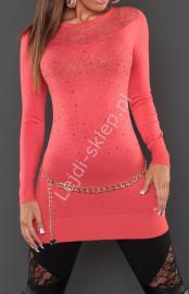 Koralowa swetrowa tunika z koronką z przodu i na plecach z kryształkami, 129200 - Lejdi