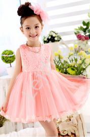 Koronkowa różowa sukienka dla dziewczynki | sukienka na chrzest , wesele - Lejdi
