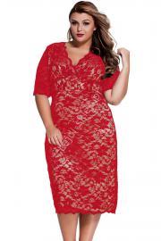 Koronkowa sukienka Plus size ze złotą podszewką | sukienki koronkowe duże rozmiary r.40 - r.52 - Lejdi