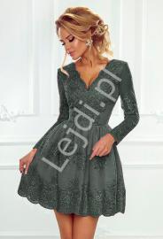 Koronkowa sukienka wieczorowa o rozkloszowanej spódnicy, oliwkowa sukienka - Amelia - Lejdi