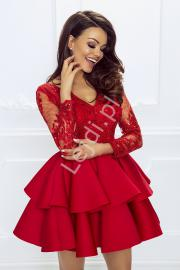 Krótka czerwona rozkloszowana sukienka z falbaną | Sukienka wieczorowa Lili - Lejdi