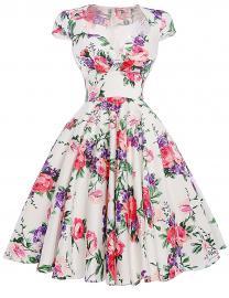 Kwiatowa sukienka pin-up fioletowo różowe kwiaty , swingdress | Sukienka w kwiaty vintage z rękawkiem 001 - Lejdi