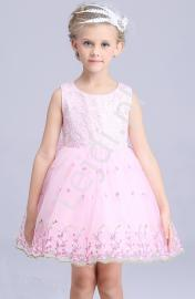 Jansoróżowa sukienka z haftowanymi kwiatami | sukienki dla dziewczynek - Lejdi