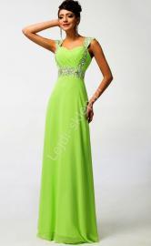 Limonkowa długa sukienka, sukienki wieczorowe - Lejdi