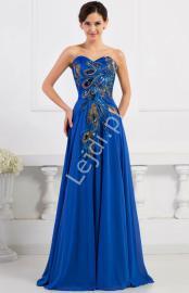 Niebieska szyfonowa suknia z pawimi piórkami | suknie wieczorowe na studniówkę, sylwestra, karnawał - Lejdi