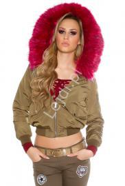 Oliwkowa kurtka bomber jacket z futerkiem w kolorze fuksji - Lejdi
