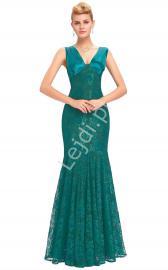 Szmaragdowa koronkowa suknia o kroju syreny| suknia na studniówkę, na wesele, na sylwestra - Lejdi