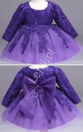 Przepiękna sukienka tiulowa z długim rękawem - fioletowa | sukienki dla dziewczynek - Lejdi