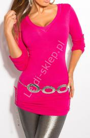 Różowa bluzka z regulownymi rękawkami i tiulową wstawka na plecach | sweter 8011 - Lejdi
